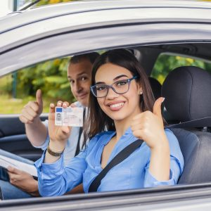 Driving school student and instructor